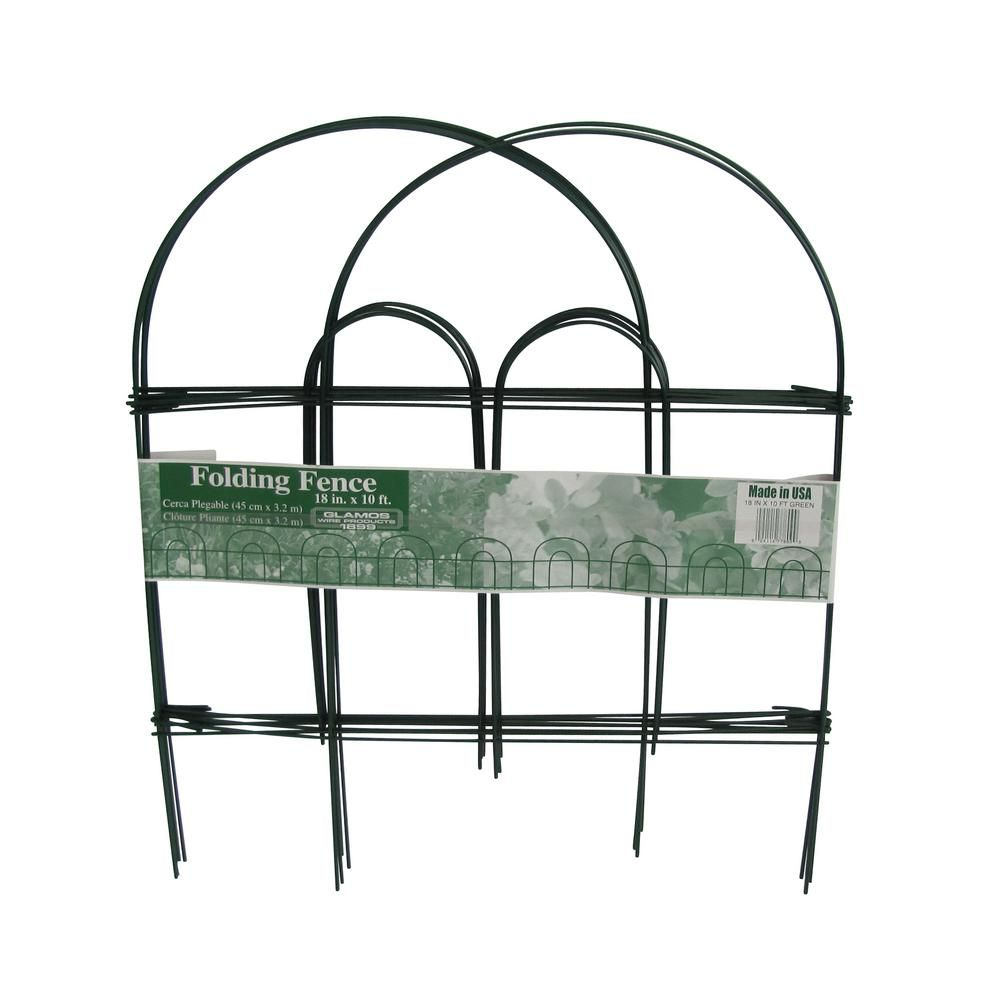Unbranded Glamos Wire 18 In Folding Fence Green 12 Pack 778009 The Home Depot In 2020 Garden Fencing Green Fence Garden Fence Panels
