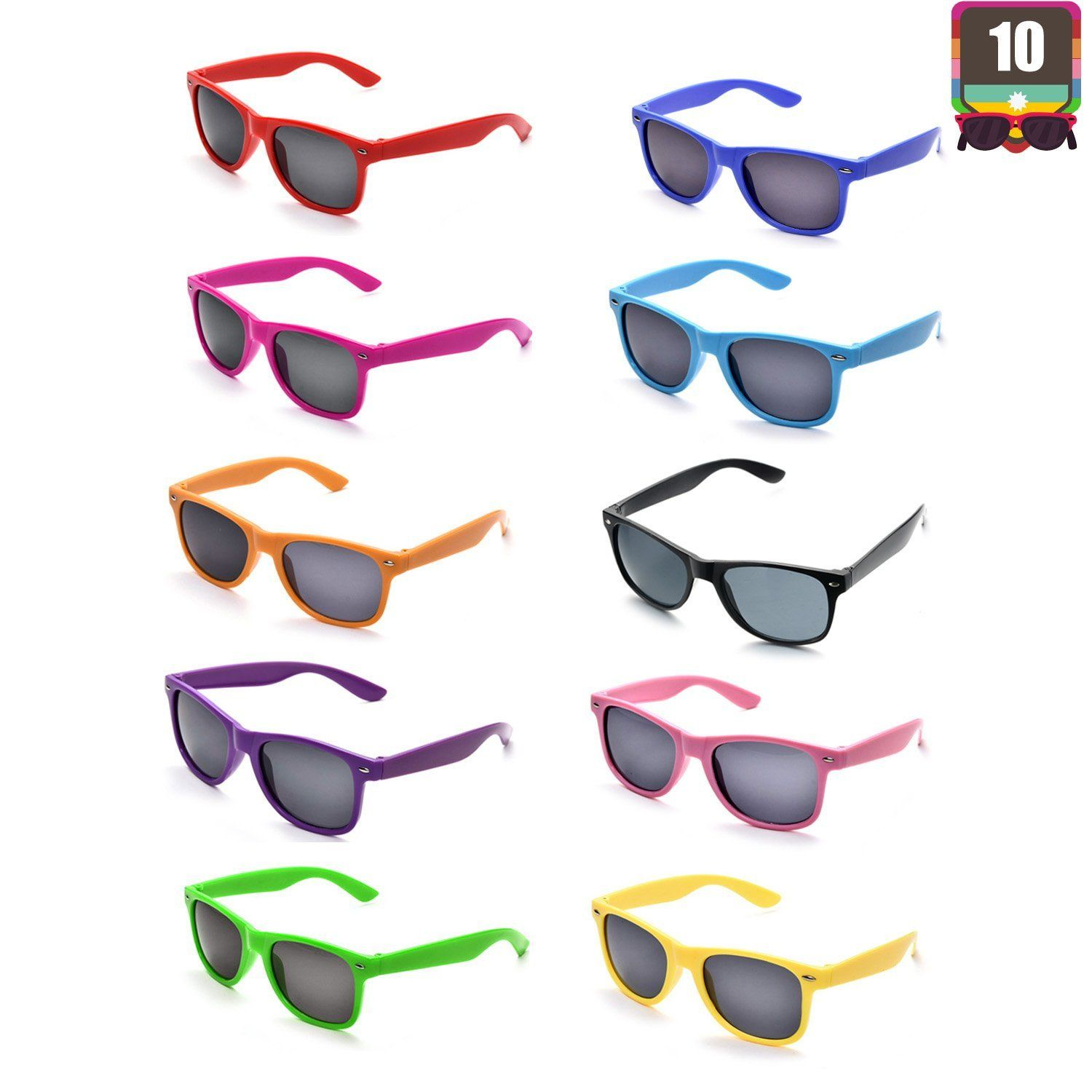 ca23013234 10 Packs Adult and Kids Neon Colors 80s Retro Style Sunglasses ...