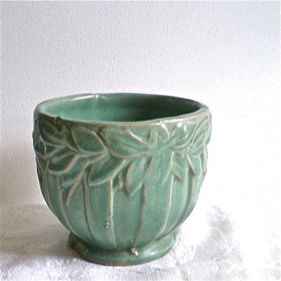 Mccoy Planter Leaf Turquoise Vintage Flower Pots Green Vase Ceramic Flower Pots