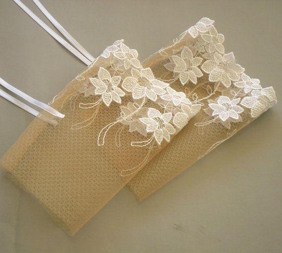 Fingerless Bridal Gloves Whimsical Wrist Cuffs by MammaMiaBridal