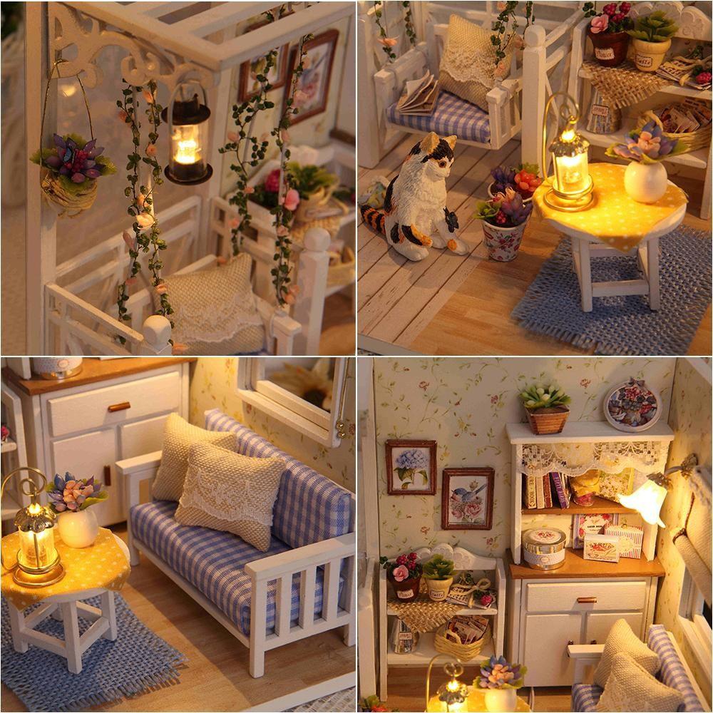 Diy cute dollhouse miniature kit with music box this