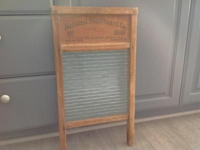 Super cute glass washboard.  Made by national washboard co.  In excellent  shape!  Would be cute in a laundry room!  Pls text if interested.  Located in draper.