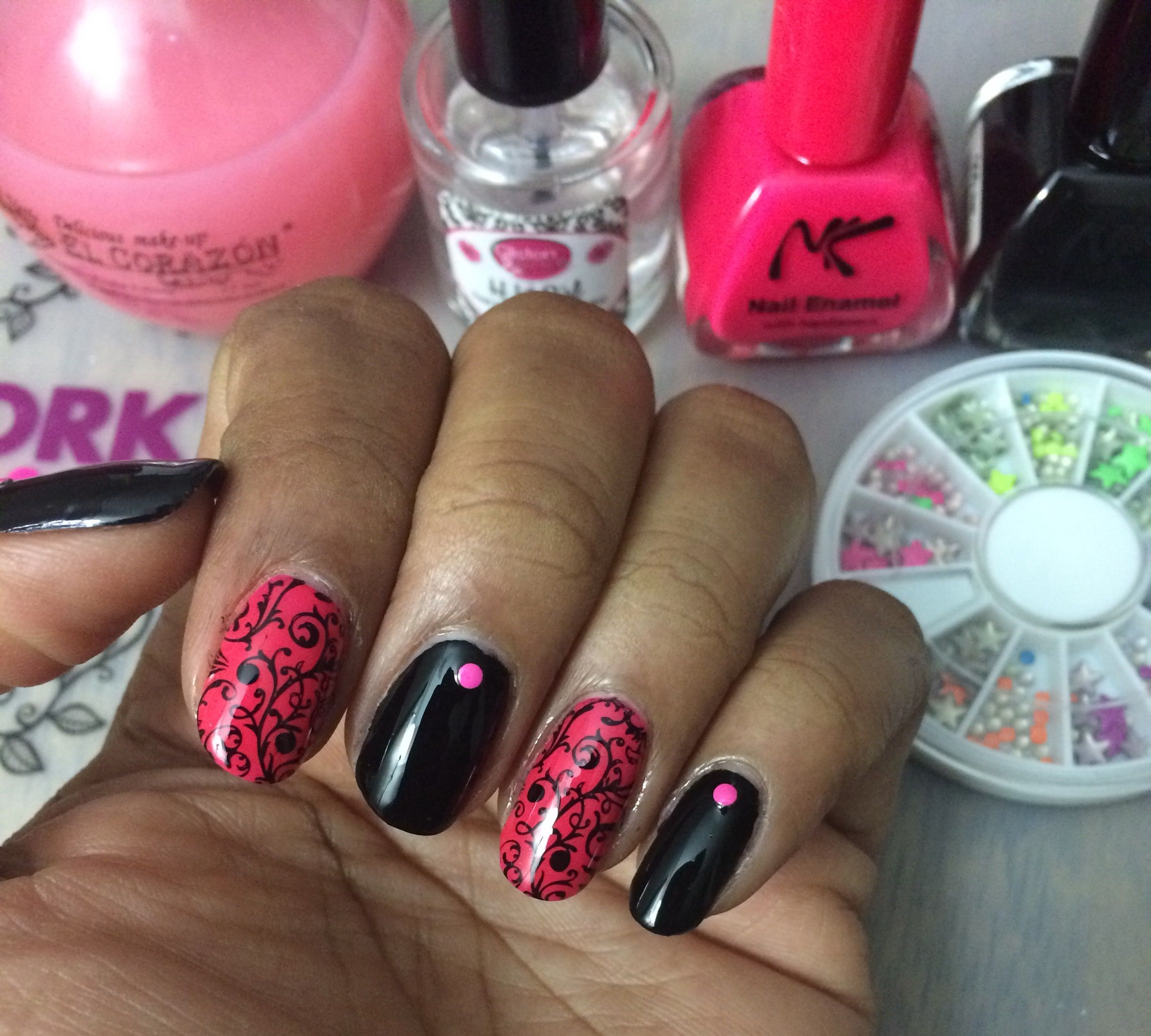 NK nail polish Noir and Fuchsia El Corazon Base Coat H K Girl Top ...