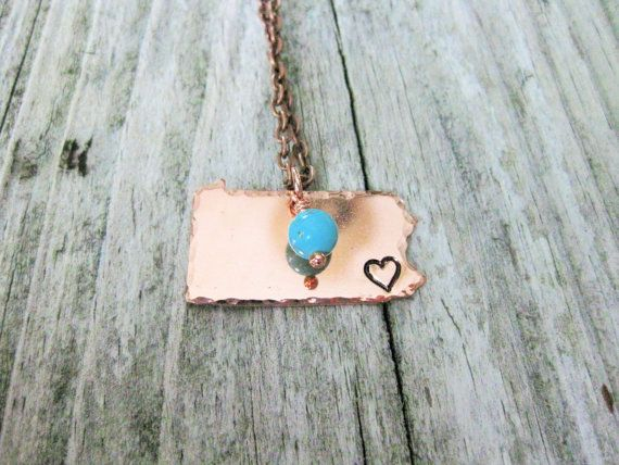Copper Pennsylvania Necklace With Heart Hand Stamped Over Philadelphia~Personalized~Choose Your City~Made In America