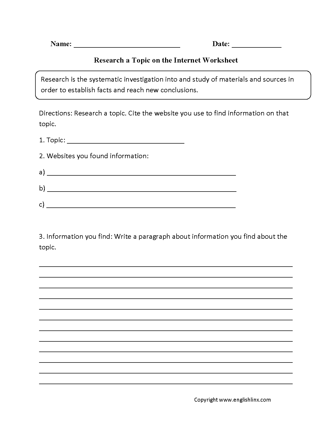 Research A Topic On The Internet Worksheet