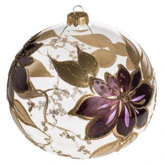 7a3944700eb Bola de Navidad vidrio transparente dorado y viola de 15 cm ...