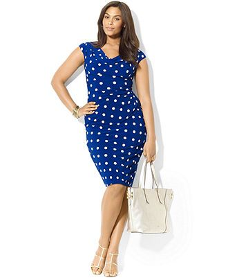 Lauren Ralph Lauren Plus Size Dress, Cap-Sleeve Polka-Dot ...