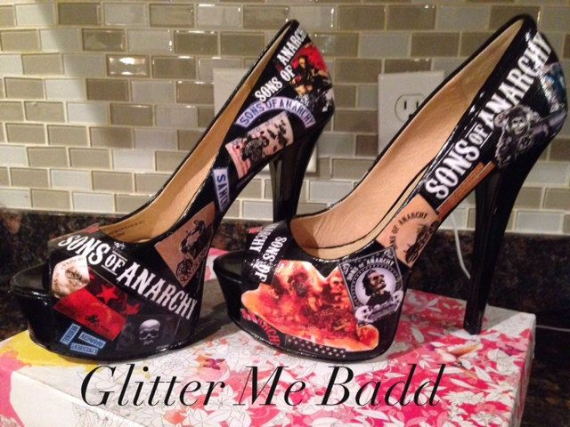 Sons of Anarchy Themed heels by GlitterMeBadd on Etsy https://www.etsy.com/listing/166316367/sons-of-anarchy-themed-heels