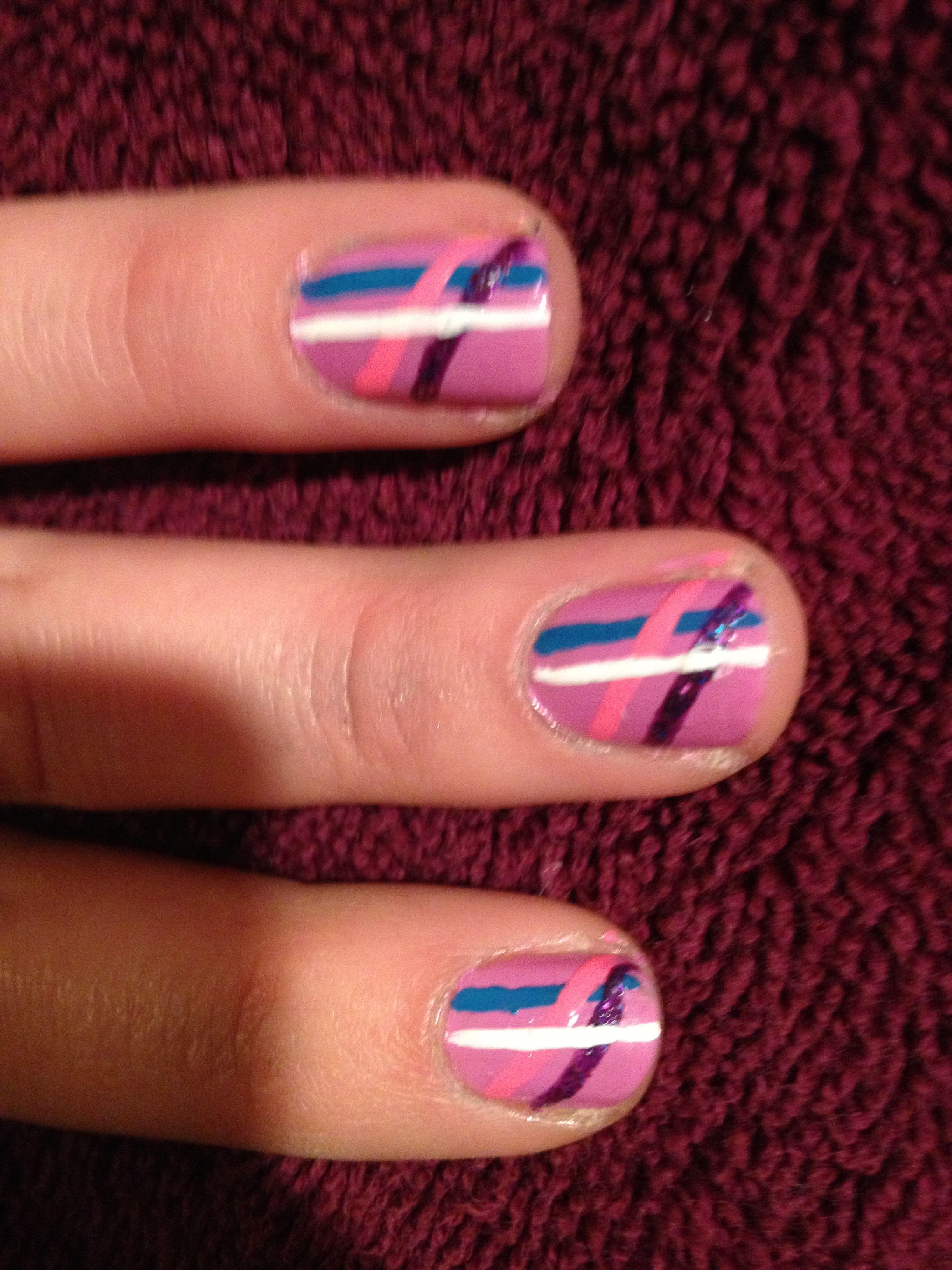 Simple Line Nail Design Beauty Pinterest