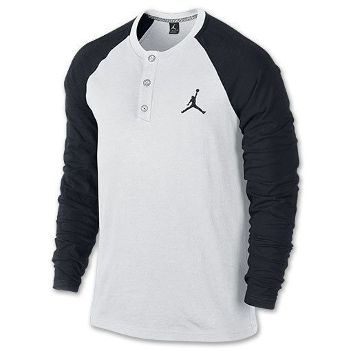 Nike Men's Air Jordan Henley Long Sleeve Crew Shirt Size L [632084-101]