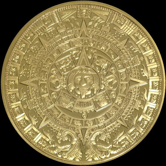 Aztec calendar stone gold plated proof finish by goodspiritwolf items similar to aztec calendar stone gold plated proof finish medallion in black finish reversible pendant w 7 reverse side gemstone options for him or aloadofball Image collections