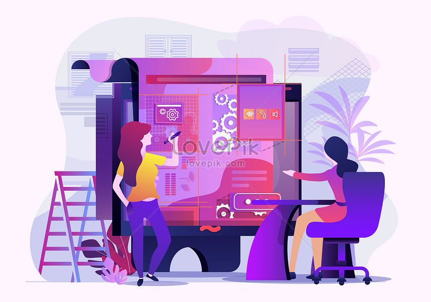 Vector Illustration For Business Office Business Vector Collaboration Office Future Technology Data Team Workpl Workplace Office Images Template Design