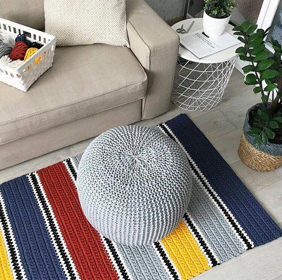 Multicolor rectangular rug, Living room rug pad, Crochet large Rug