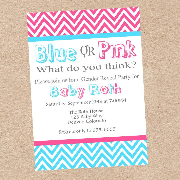 Gender Reveal Party Invitation Baby Ideas Pinterest Gender