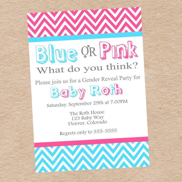 Gender Reveal Party Invitation Baby Ideas Pinterest Gender