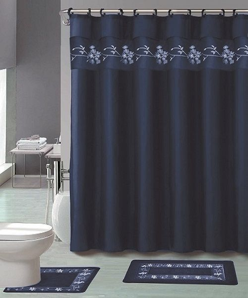 18pc Bath Rug Set Beverly Navy Blue Flower Bathroom Shower Curtain
