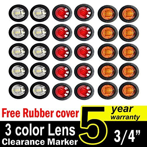 side marker lights 10 Pcs TMH 3//4 Inch Mount Clear White LENS /& Amber LED Clearance Markers led trailer marker lights trailer marker light led side marker lights led marker lights