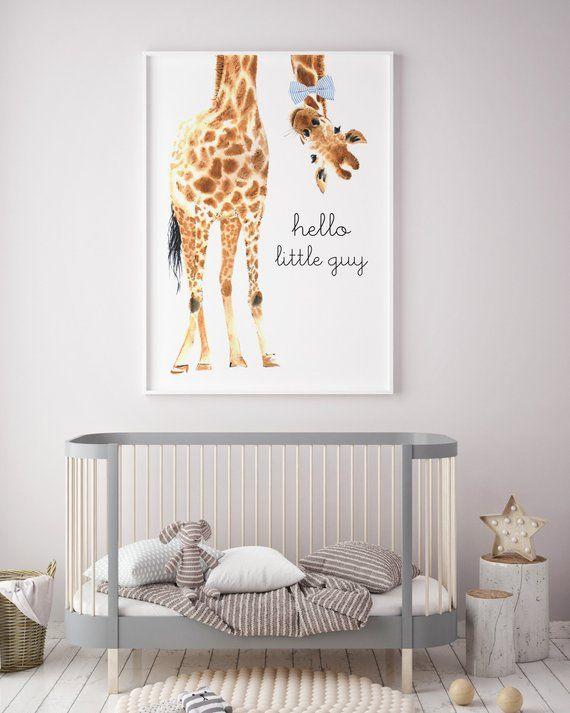 Hello Little Guy Bow Tie Giraffe Print | Giraffe Art | Giraffe Animal nursery decor | Nursery wall art | Hello Little One | Nursery safari -   24 nursery decor animals ideas