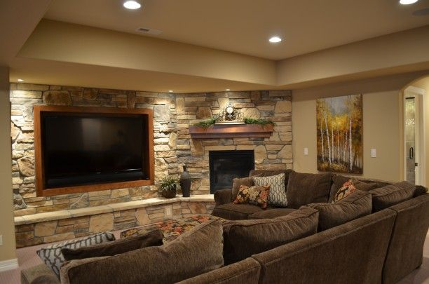 Basement Entertainment Wall Tv Centered And Corner Fireplace