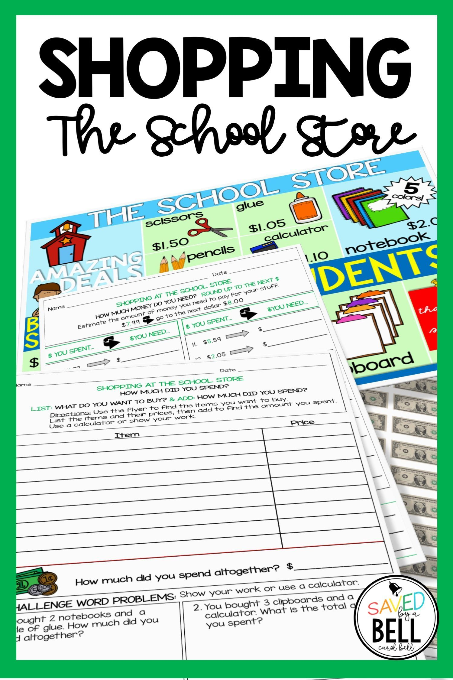 Shopping Worksheets Add Without Regrouping And Next Dollar