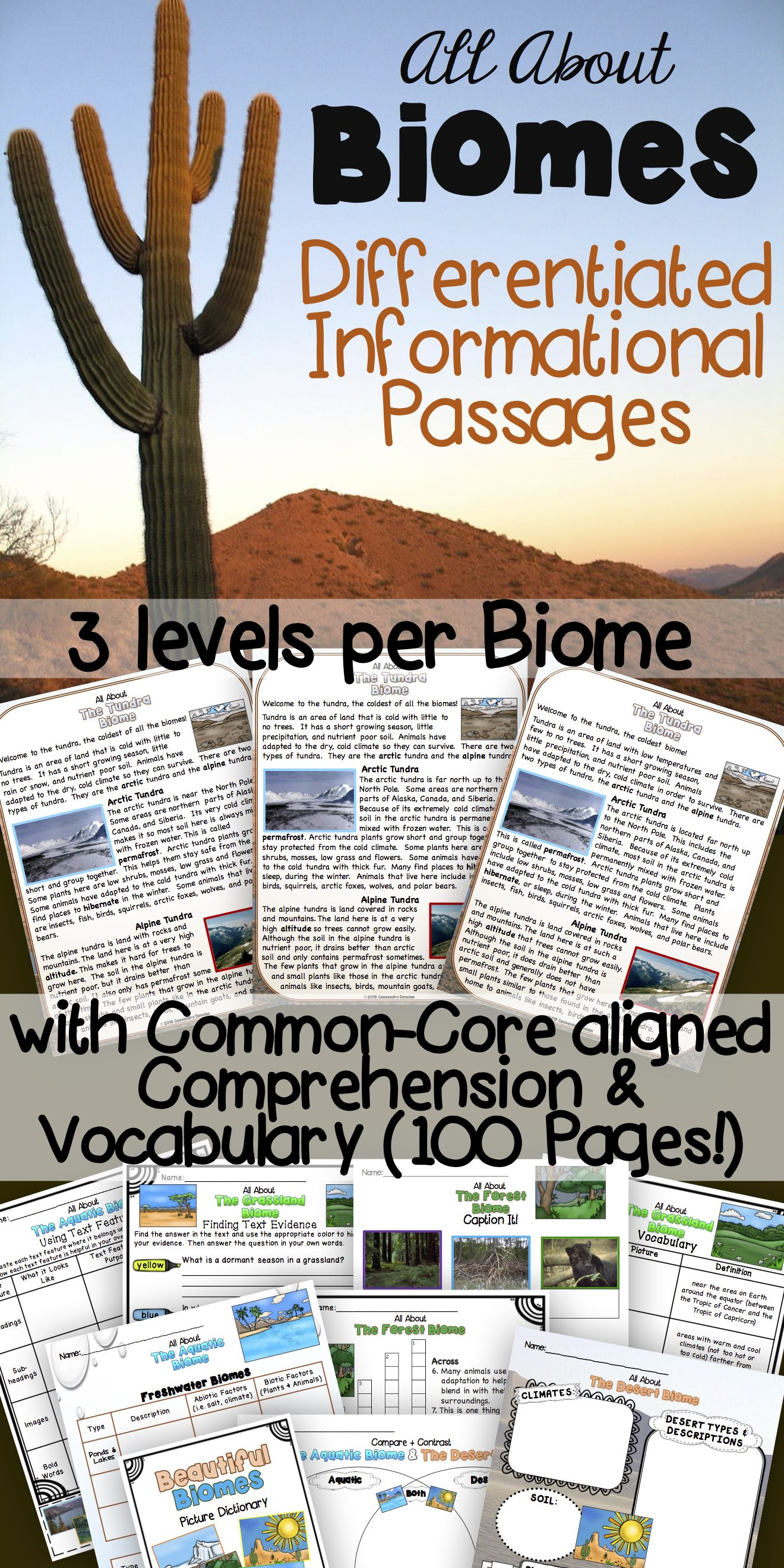Differentiated Biomes Reading Passages With Vocabulary