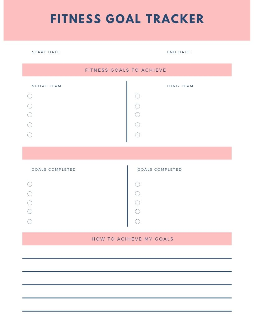 100 Images of Fitness Goals Template