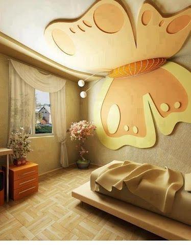 Butterfly Decoration On Wall Ceiling Design Bedroom Modern Kids Room Pop False Ceiling Design