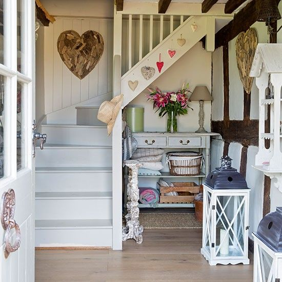 21 Attractive Painted Stairs Ideas Pictures: Country Hallway With Painted Stairs