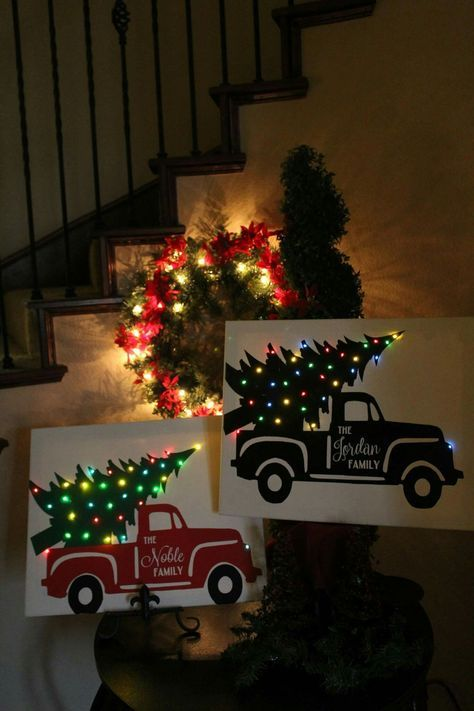 Personalized Christmas Truck on Canvas 16x20