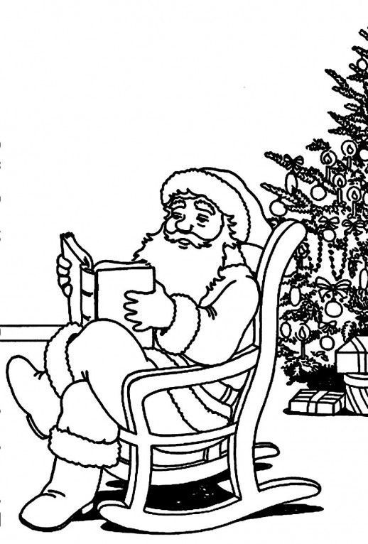A Santa Claus Reading Book On Rocking Chair Coloring Pages