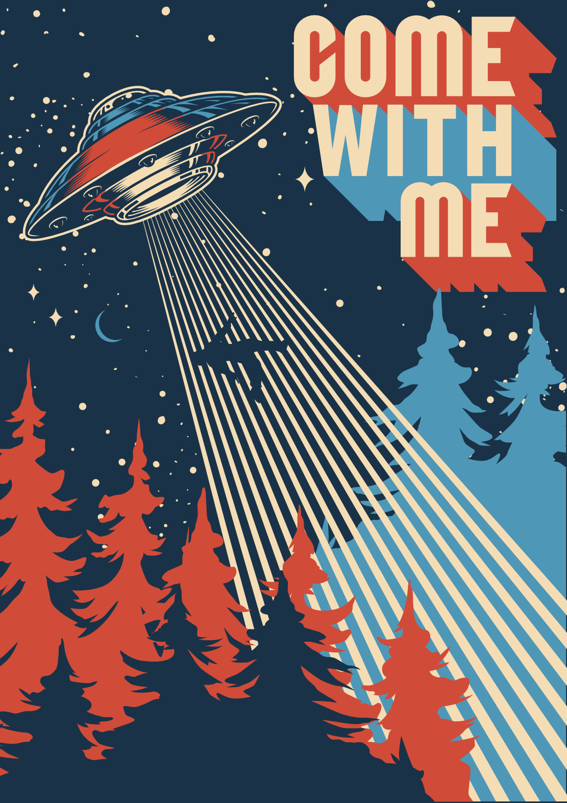 Come with Me - UFO Space Poster