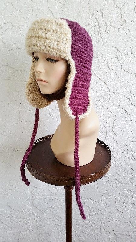 32d497e6e71 hand crochet russian trapper bomber aviator Hat men women hat winter ...