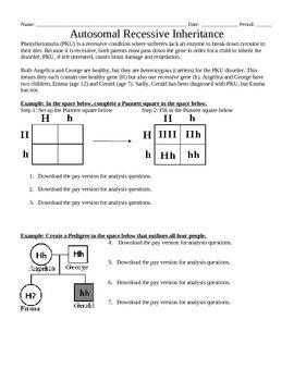 Genetics: Autosomal Recessive Inheritance Punnett squares ...
