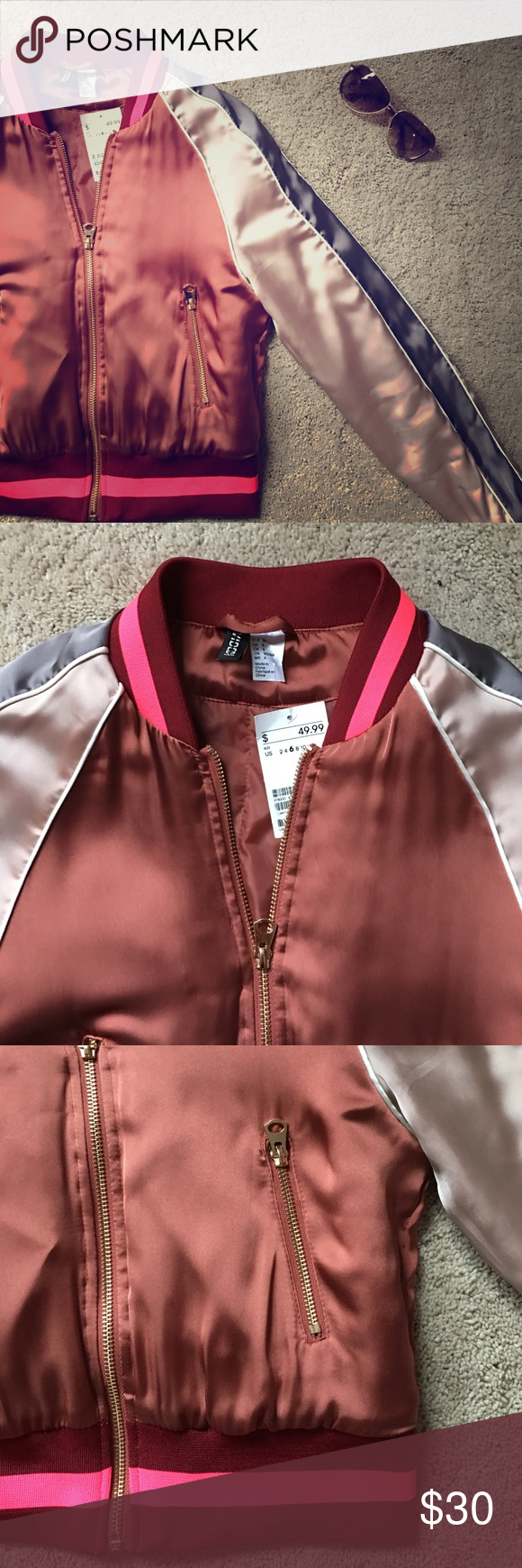 521c8b120 NWT H&M pink and brown satin bomber jacket. NWT H&M pink and brown ...