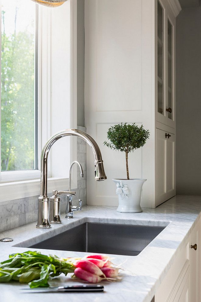 "White Kitchen Faucets Pull Down quincy pull down faucetkallista. sink is kohler 32""x18 1/4"" x"