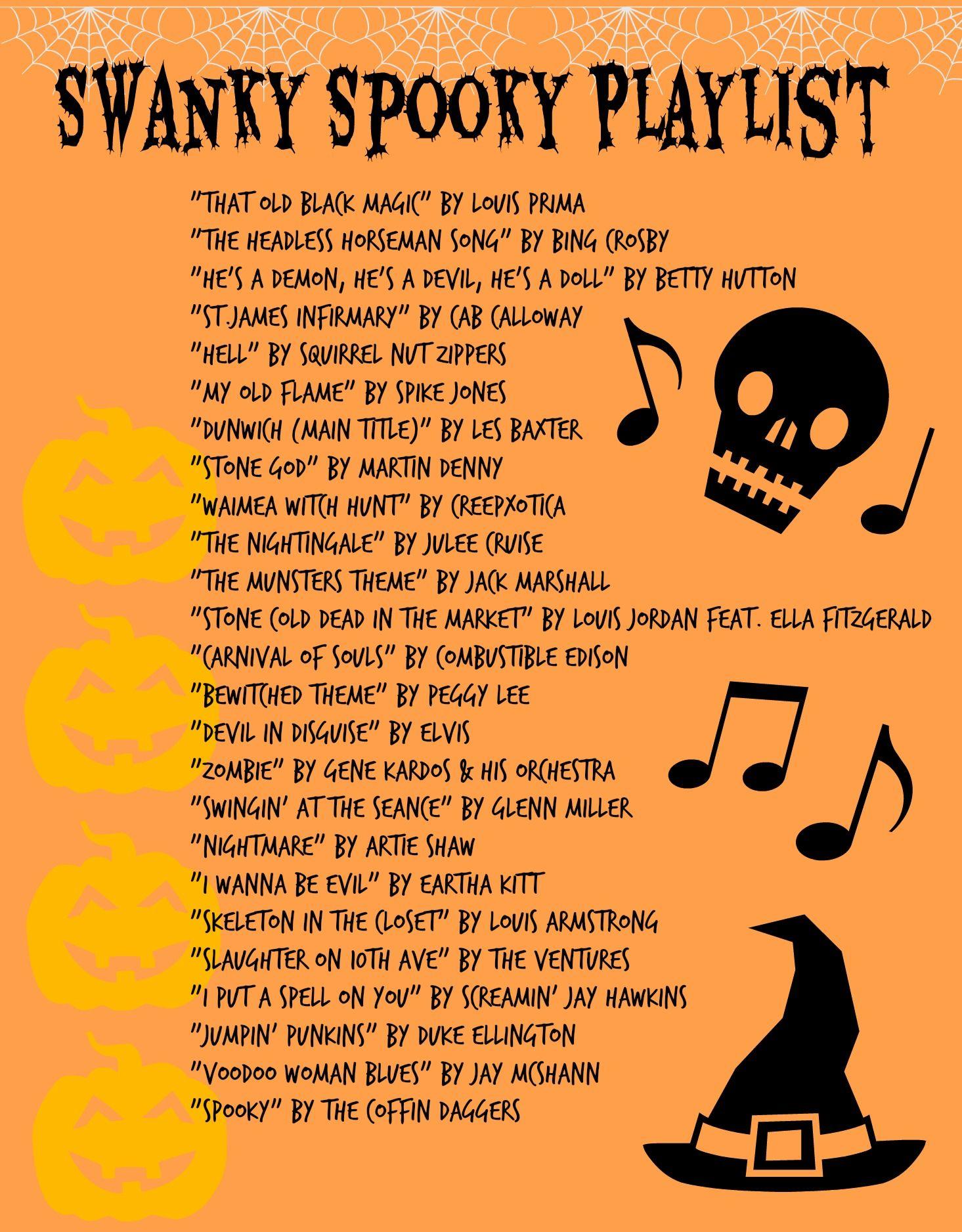 Halloween Songs.Swanky Spooky Playlist 40s 50s Rockabilly Music Halloween