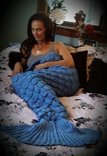 [$7.88 save 66%] Amazon #LightningDeal 71% claimed: Mermaid Tail Blanket Crochet Knitted Sleeping Bag Sofa Bedd...