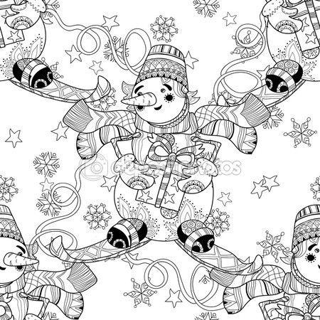 Zentangle doodle dibujado a mano Navidad muñeco de nieve de esquí ...