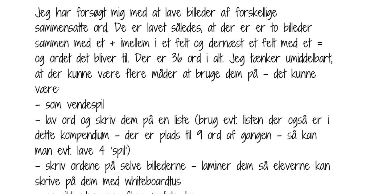 Sammensatte ord billeder.pdf Læringsplancher, Ord, Sprog