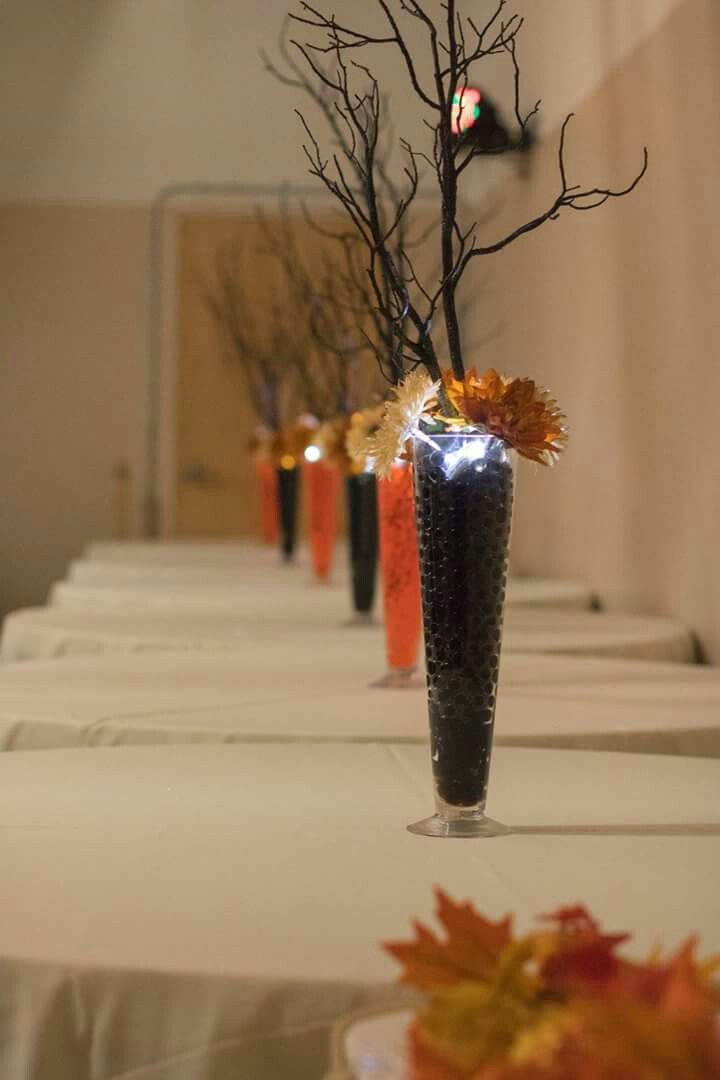 fall branch wedding centerpieces with orange and black water beads rh pinterest com