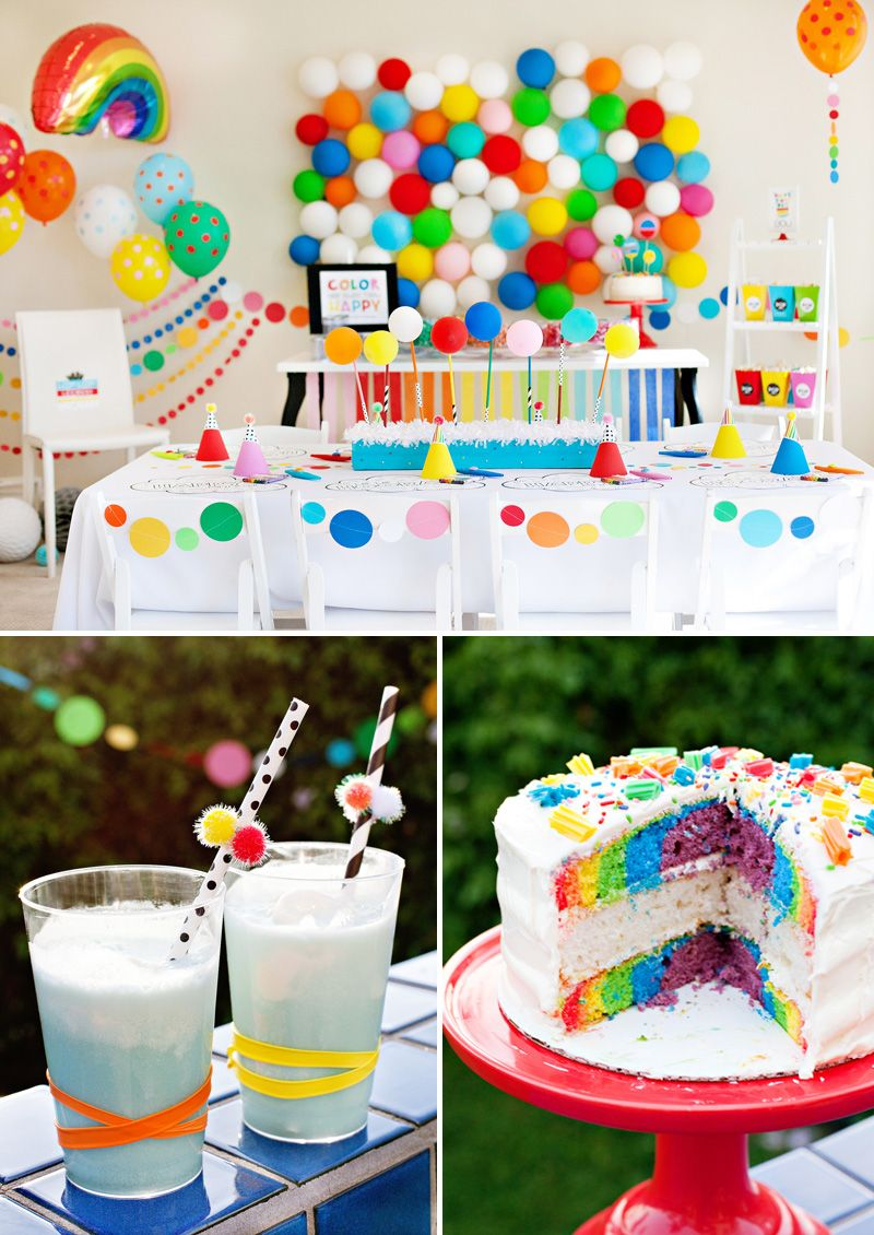 A Modern Rainbow Art Party Kids Birthday Rainbow Birthday
