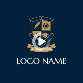 Blue Shield And Banner Emblem Logo Design Emblem Logo Logo Design Education Logo Design