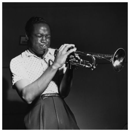 Clifford Brown as he plays the trumpet during a rehearsal for the Lou Donaldson and Clifford Brown Quintet 1953