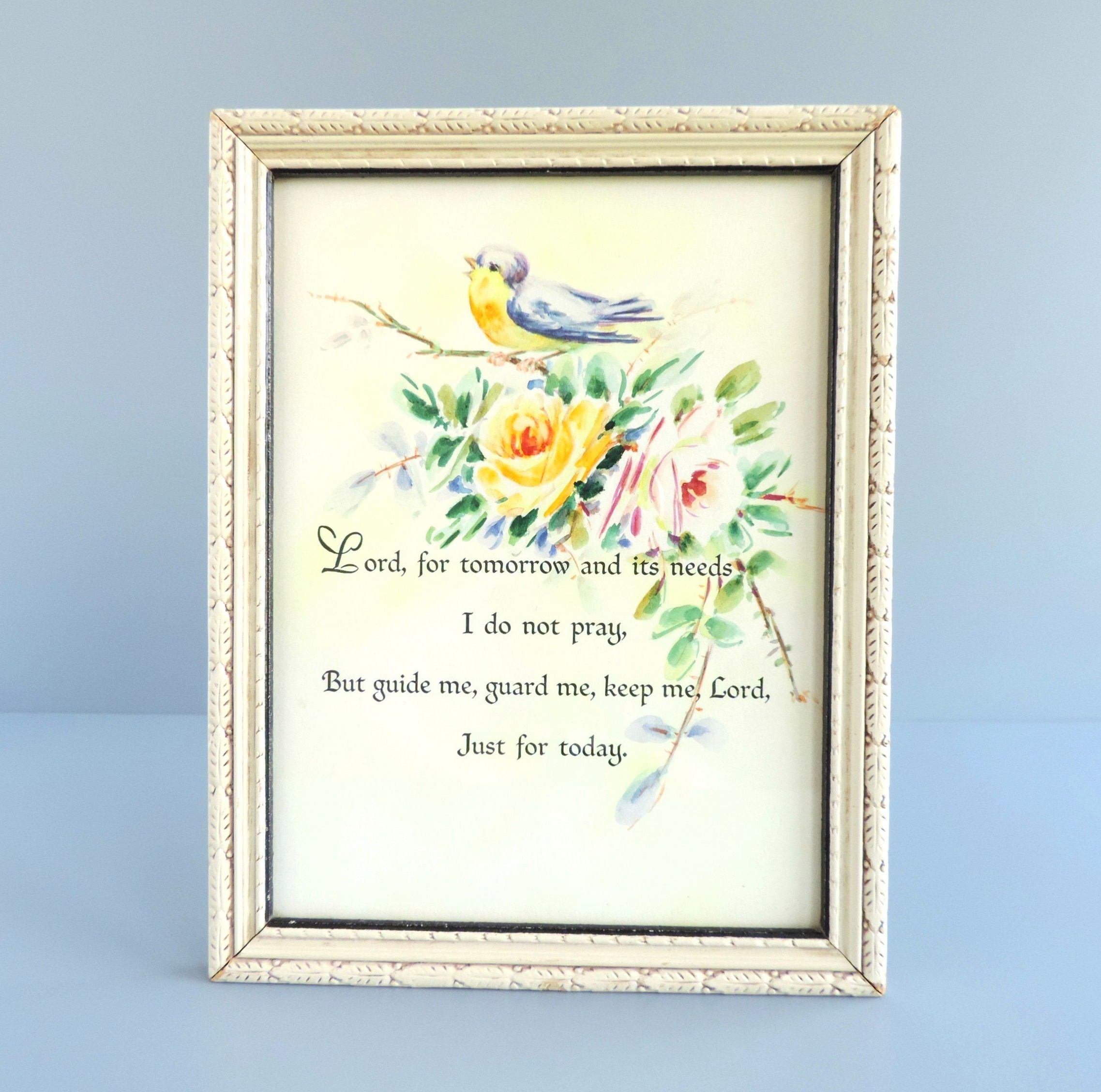Vintage Framed Prayer Art Print With Bird And Rose Flowers