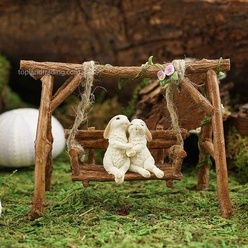 Magnificent Rabbit Lovers On Swinging Garden Bench Bunny Things Evergreenethics Interior Chair Design Evergreenethicsorg