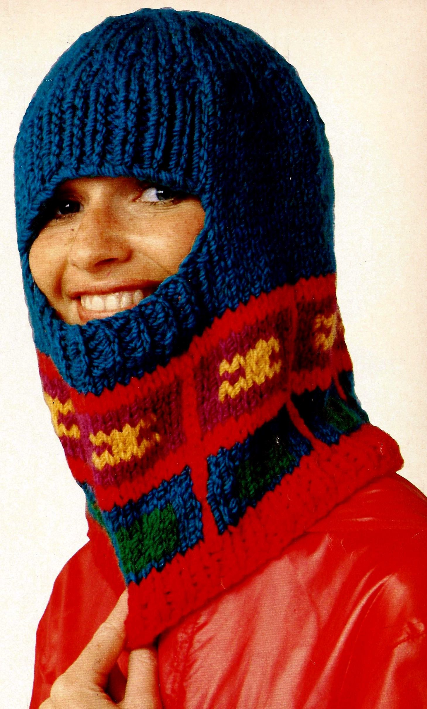 Womens Helmet (Balaclava) and Leg Warmers Vintage Knitting Pattern ...