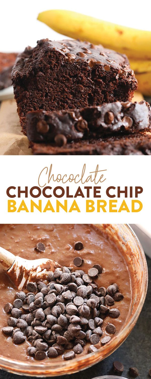 Chocolate Chocolate Chip Banana Bread - Fit Foodie Finds #bananabreadrecipe