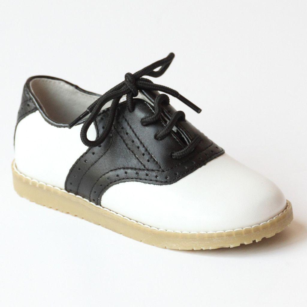 L'Amour Boys 042 White/Black Leather Oxfords