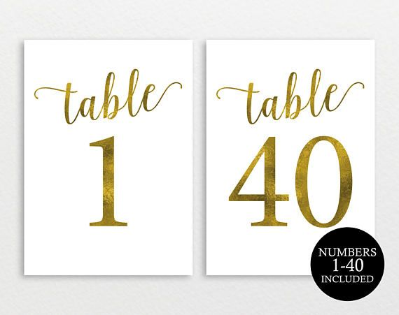 gold foil effect wedding table numbers table numbers 1 40 included