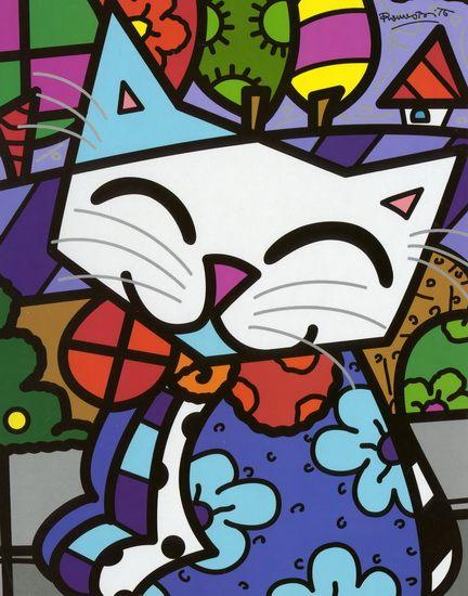 Coloriage Chat Romero Britto.Cahier Britto Chat 8 X11 Romero Britto Peinture Chat